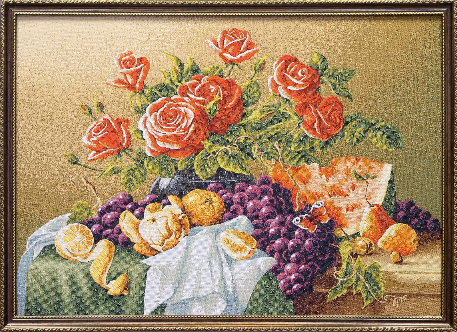 Картина Магазин гобеленов натюрморт с розами 50*72 см, Гобелен