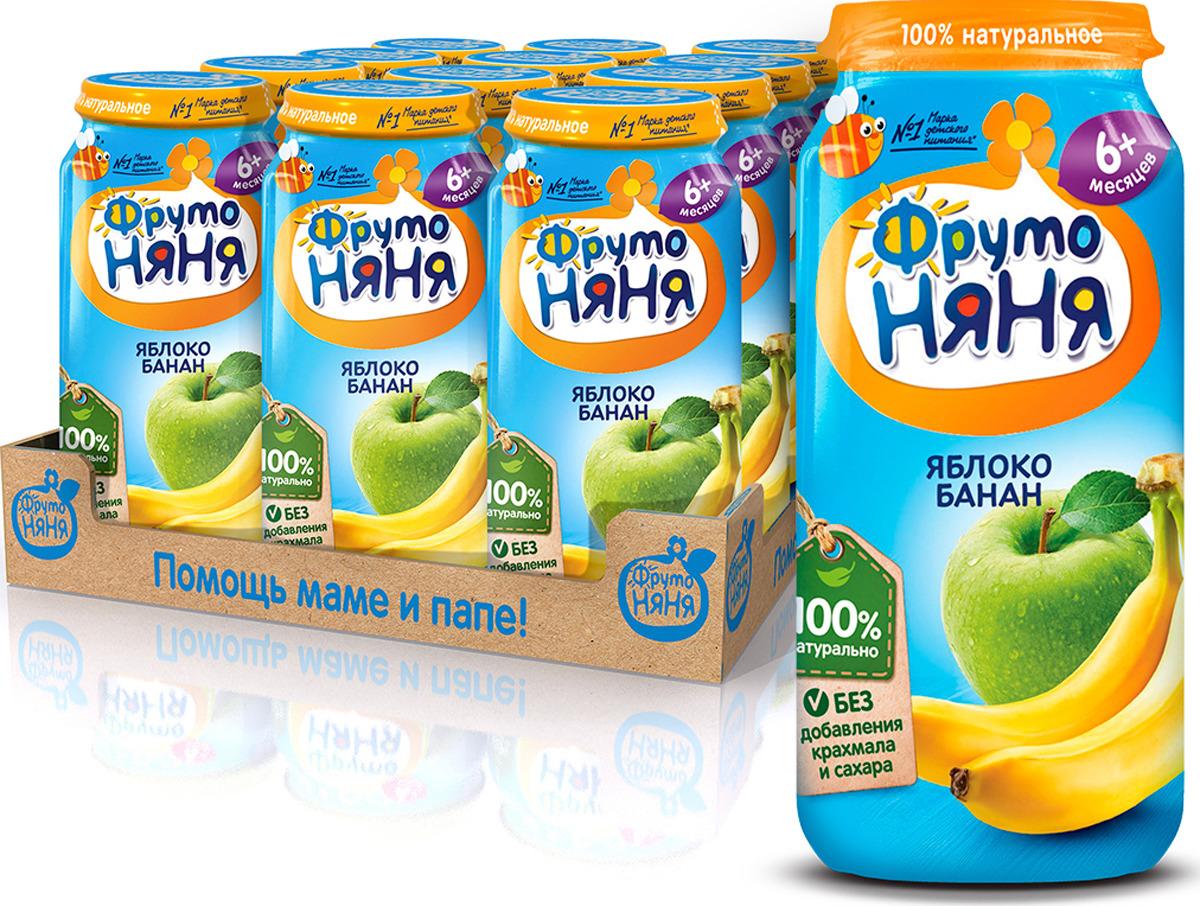 ФрутоНяня Яблоко Банан пюре с 6 месяцев, 12 шт по 250 г фрутоняня яблоко и груша со сливками пюре с 6 месяцев 12 шт по 250 г