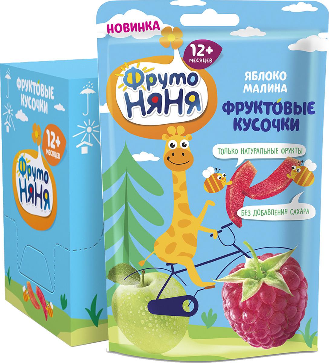 Фруктовые кусочки ФрутоНяня из яблок и малины, 10 шт по 15 г компот из вишни и малины фрутоняня 25 шт по 0 5 л