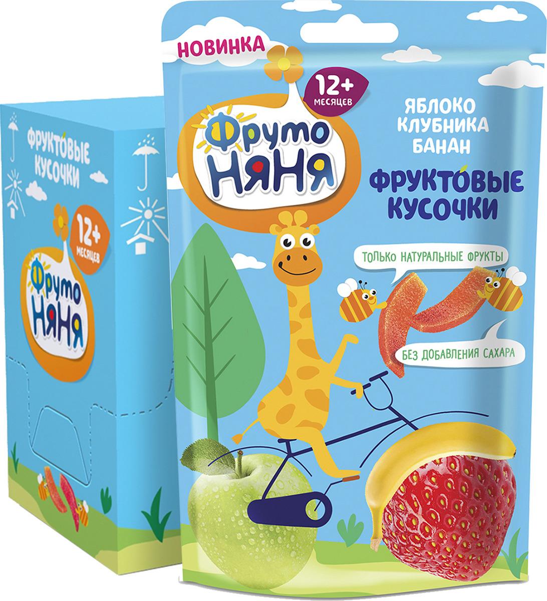 Фруктовые кусочки ФрутоНяня из яблок, клубники и бананов, 10 шт по 15 г