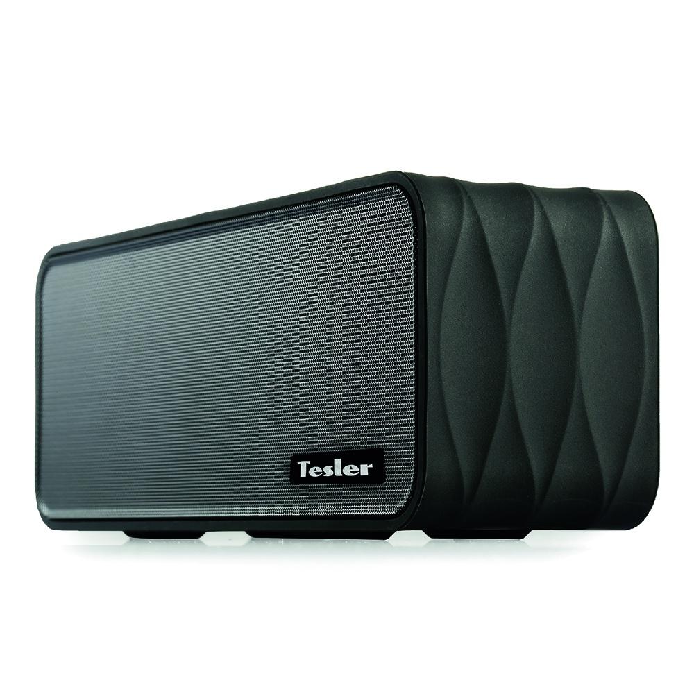 Беспроводная акустика Tesler PSS-555 портативная акустическая система tesler pss 555 черный bluetooth прорезиненный корпус дисплей мощность колонок 2х4 5 вт fm радиотюнер