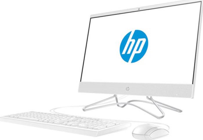 Моноблок HP 22-c0010ur, 4HE00EA, 21.5, белый моноблок lenovo v410z 22 fullhd core i3 7100t 4gb 500gb dvd kb m win10pro white