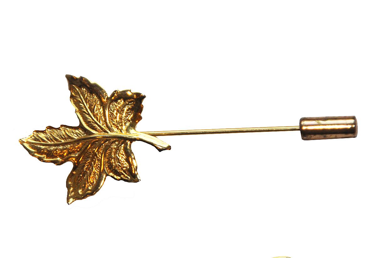 Брошь бижутерная Золотой листочек. Ювелирный сплав золотого тона США 1970-е годы, золотой винтажная брошь ювелирный сплав золотого тона хрустальные стразы сша 1980 е годы