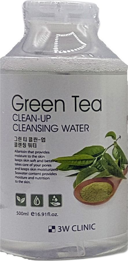 Вода мицеллярная 3W Clinic Green Tea Clean-Up Cleansing Water, 500 мл очищающая вода урьяж