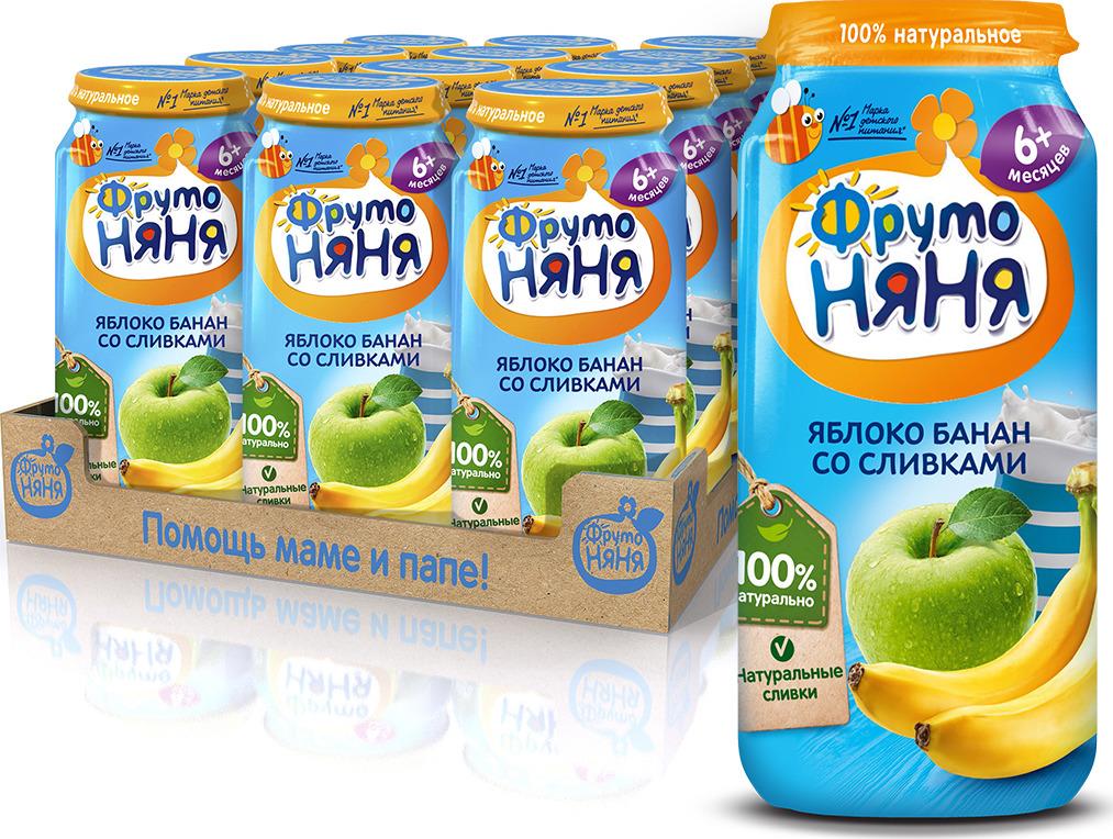 ФрутоНяня Яблоко и банан со сливками пюре с 6 месяцев, 12 шт по 250 г