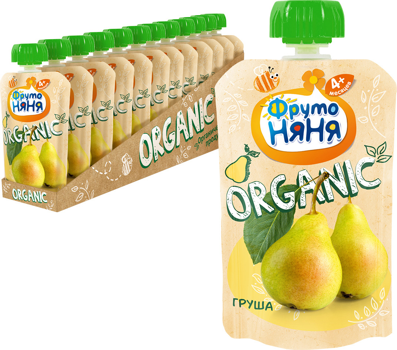 Пюре ФрутоНяня из груш натуральное для питания детей раннего возраста, 12 шт по 90 г