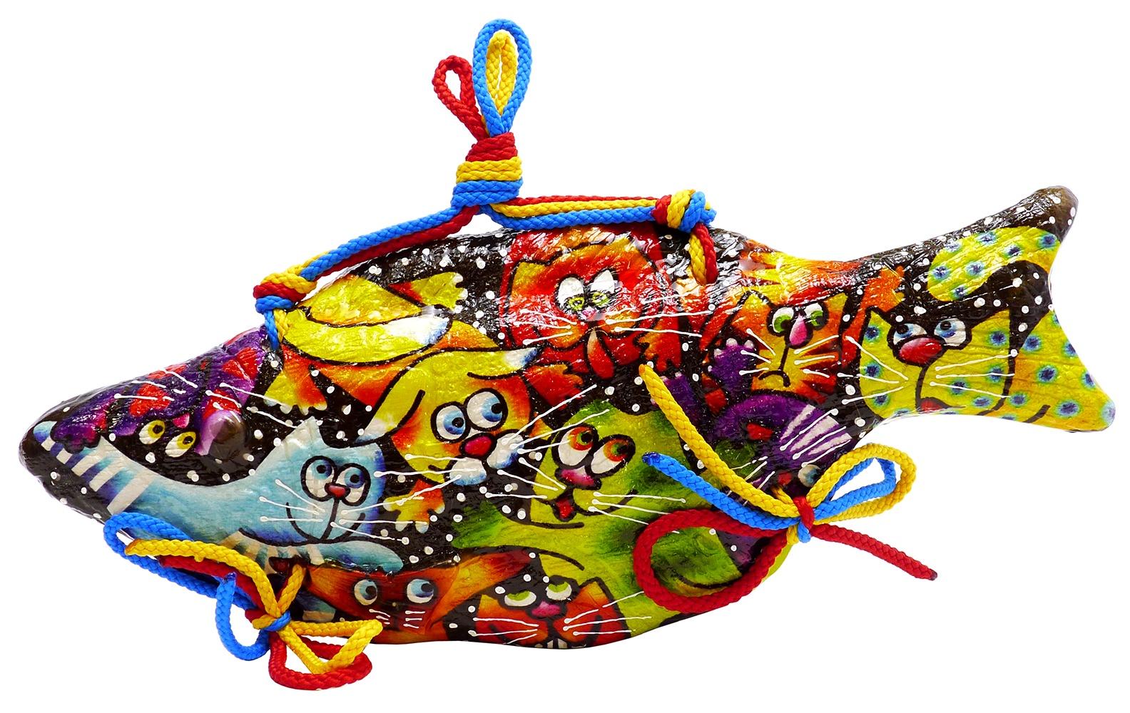 Декоративное панно Мастер Чирва Рыба цепочка (СК-303), голубой