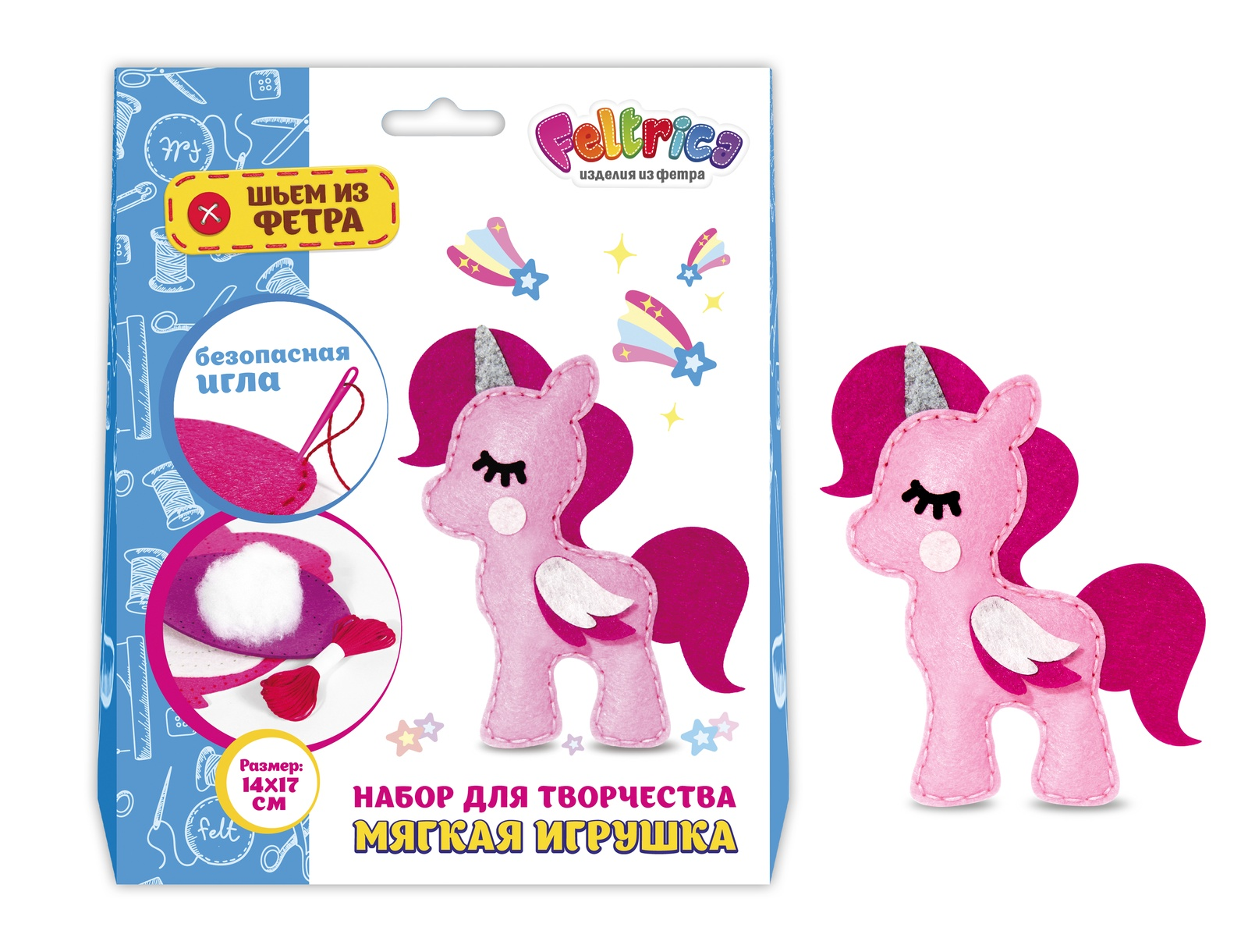 Набор для изготовления игрушки Feltrica Шьем из фетра Единорог розовый игрушки для детей единорог