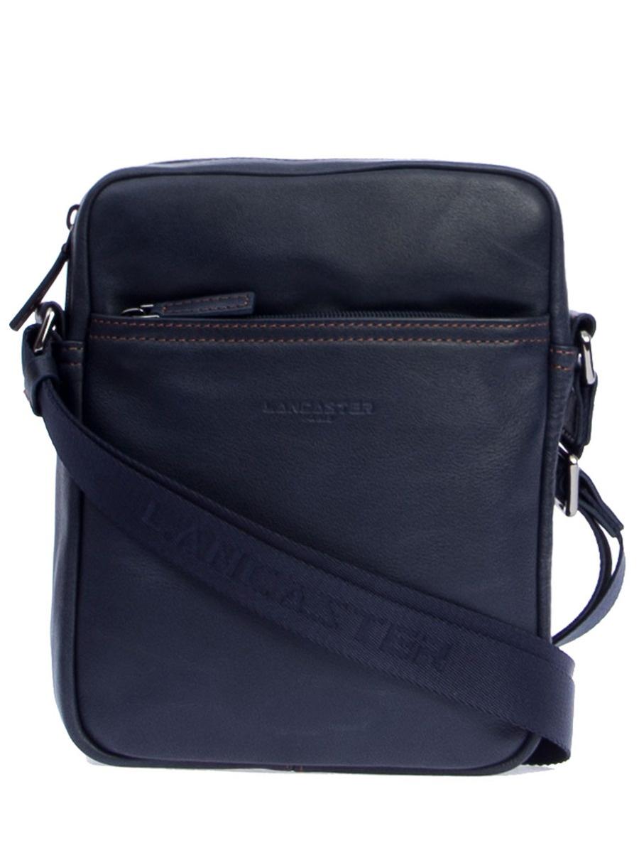 Сумка LANCASTER 320-14-BLEUF_CAMСиний151824-Кожаная небольшая сумка синего цвета от Lancaster.-Одно отделение, три кармана на молнии, регулируемый текстильный плечевой ремень, застежка - молния.