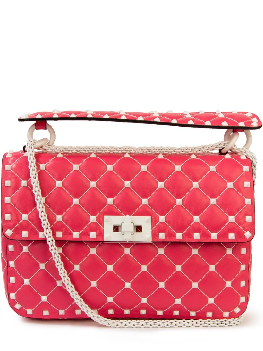 Сумка VALENTINO PW2B0122RVHРозовыйБелыеклепки маленькая сумочка 2015 rockstud trapeze rivet fashion women shoulder bags handbags hand 2015 rockstud bolsos mujer ombro new rivet messenger bag 2015