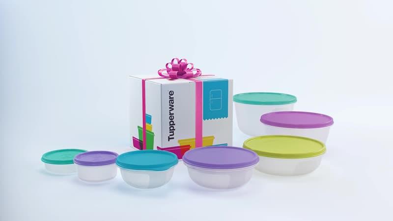 Набор емкостей Tupperware Хит-парад, прозрачный, голубой, светло-розовый