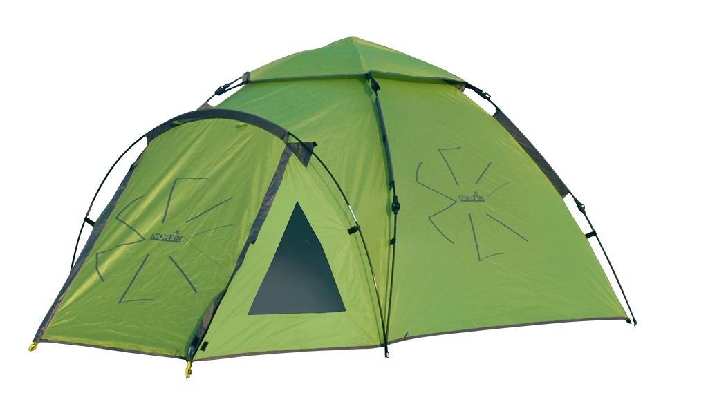 Палатка-автомат Norfin Hake 4, NF-10406, зеленыйNF-10406Двухслойная 4-х местная палатка с полуавтоматическим быстро сборным каркасом. Два компактных тамбур на входах в палатку. Внутренняя палатка и тент устанавливаются одновременно. Установка палатки может быть совершена одним человеком за считанные секунды. -два входа-входы во внутреннюю палатку продублированны антимоскитной сеткой-кармашки для мелочей-все швы палатки герметизированны при помощи термоусадочной водонепроницаемой ленты-два тамбура для размещения поклажи-прозрачные окна в тамбуре-окно в тамбуре, продублированное антимоскитной сеткойТип палатки: треккинговая автоматическаяКоличество мест: 4Материал наружной палатки/ влагостойкость (мм H2O)190T Polyester PU/3000Материал внутренней палатки190T breathable polyester+ B3 meshМатериал дна/ влагостойкость (мм H2O)150D Polyester Oxford PU/ 6000 Материал каркаса: FGМатериал колышков: стальКоличество дуг(стоек)/диаметр (мм) - / 7,9 и 8,5
