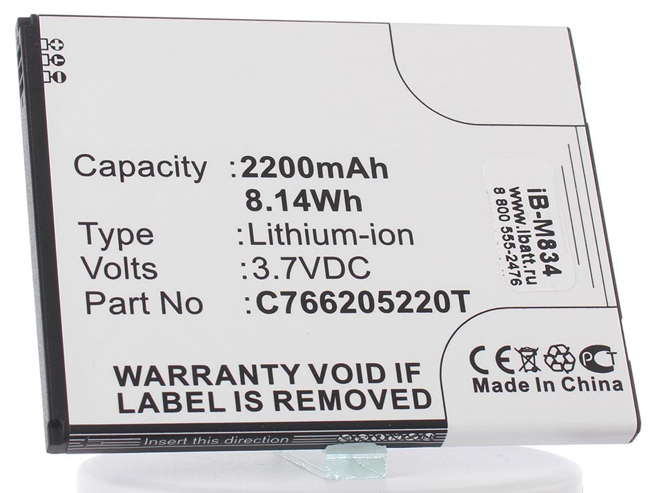 Аккумулятор для телефона iBatt C766205220T для teXet TM-5200, D550, D550A, D551A, Studio 5.3 (D550)
