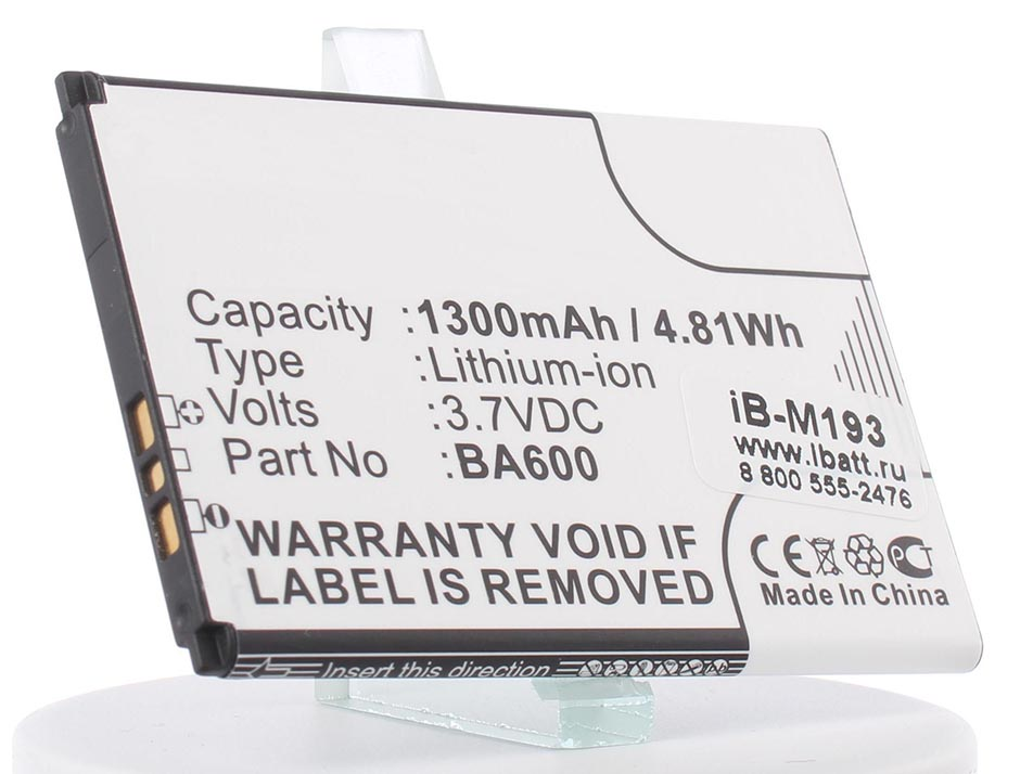 Аккумулятор для телефона iBatt BA600 для Sony Ericsson ST25i, ST25, Xperia U (ST25 Kumquat), Kumquat аккумулятор для телефона ibatt bst 22 для sony ericsson t306 t300 t310