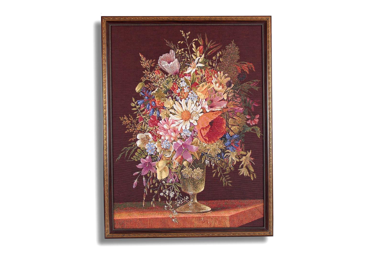 Фото - Картина Магазин гобеленов букет ромашки и маки 69*90см, Гобелен гобелен картина интерьерная магазин гобеленов букет роз бордюр 65 на 85 см