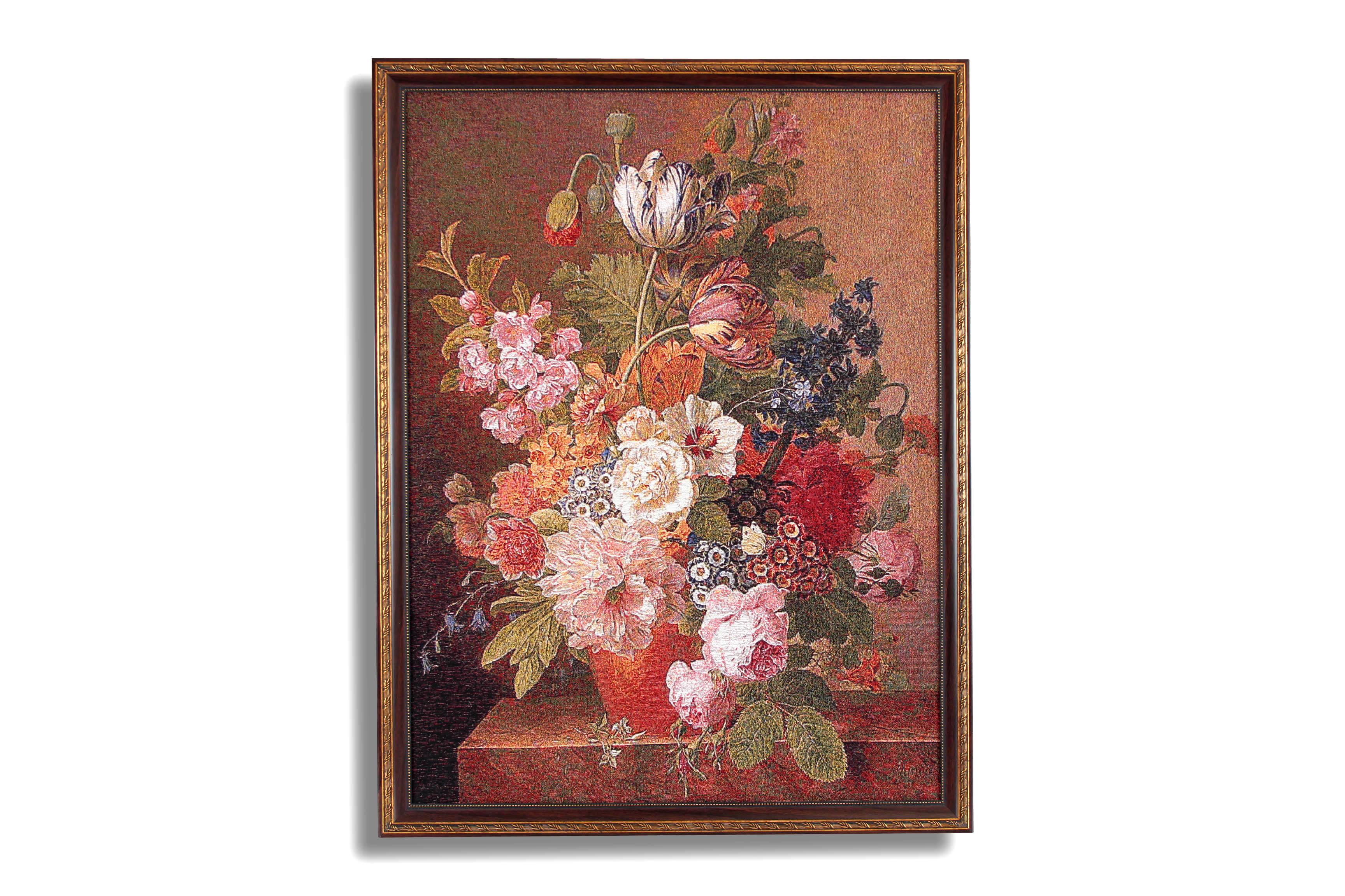 Картина Магазин гобеленов букет пионов и тюльпанов 69*90 см, Гобелен