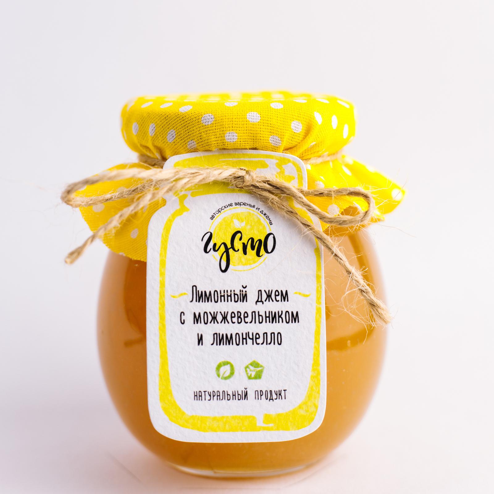 """Джем """"ГУСТО"""" из лимона с можжевельником и лимончелло 230 мл"""