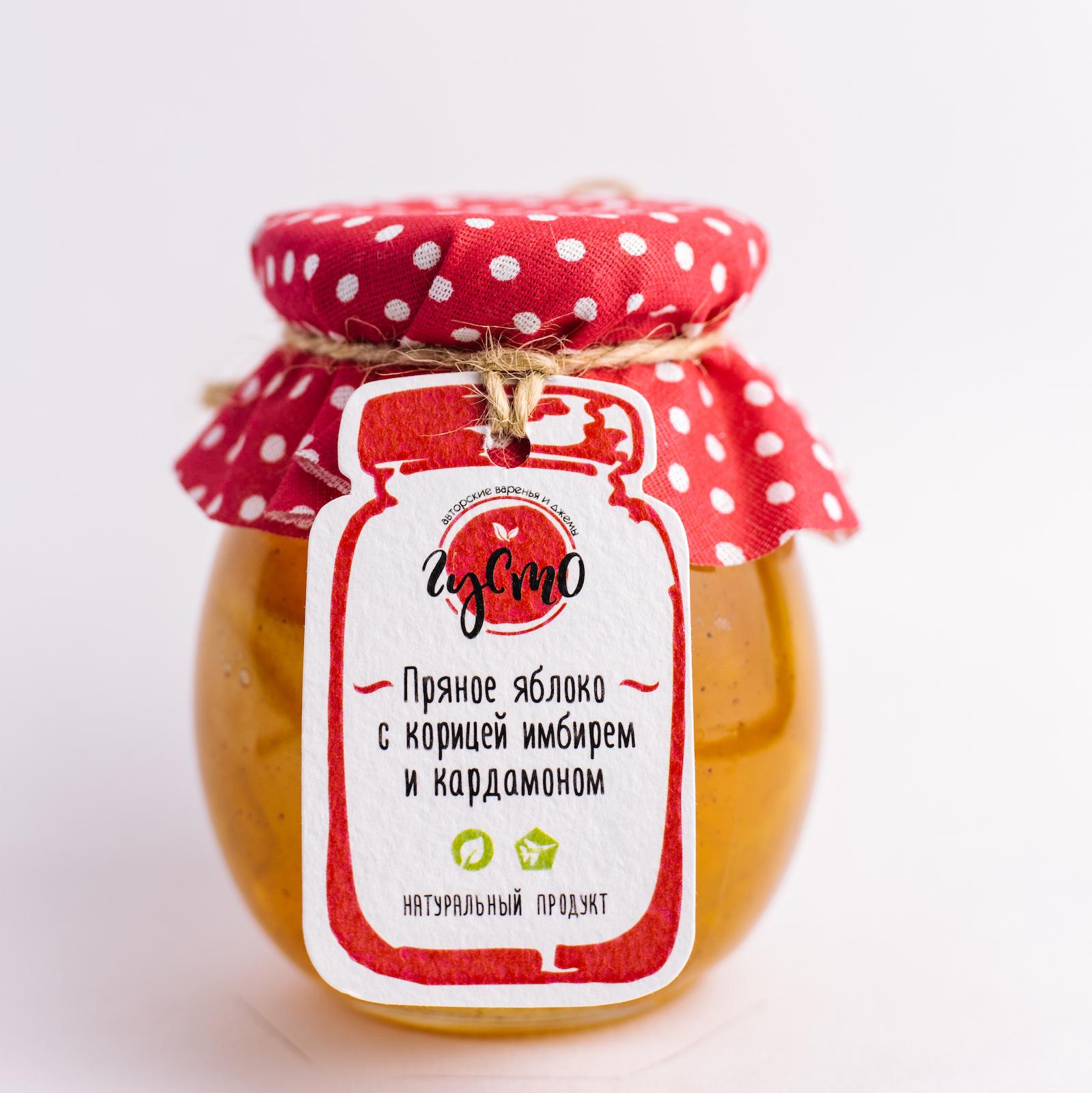 """Варенье """"ГУСТО"""" из яблока с корицей, имбирем и кардамоном 230 мл"""