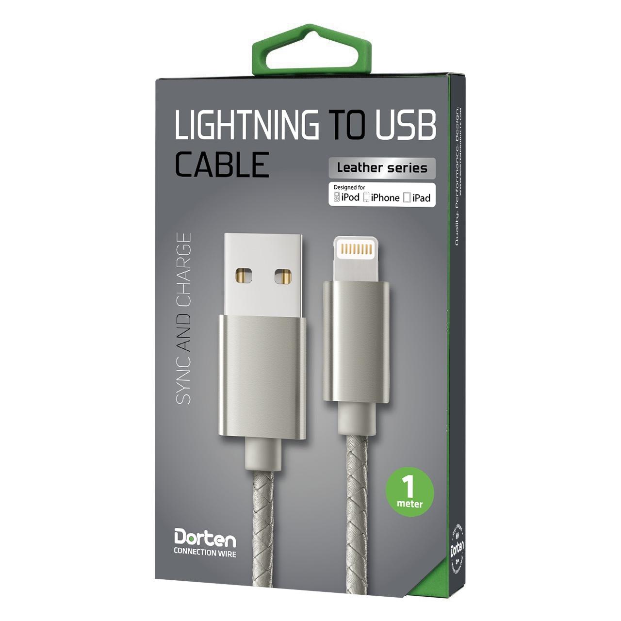 Кабель DORTEN Lighting to USB cable: Leather Series 1 meter, серый