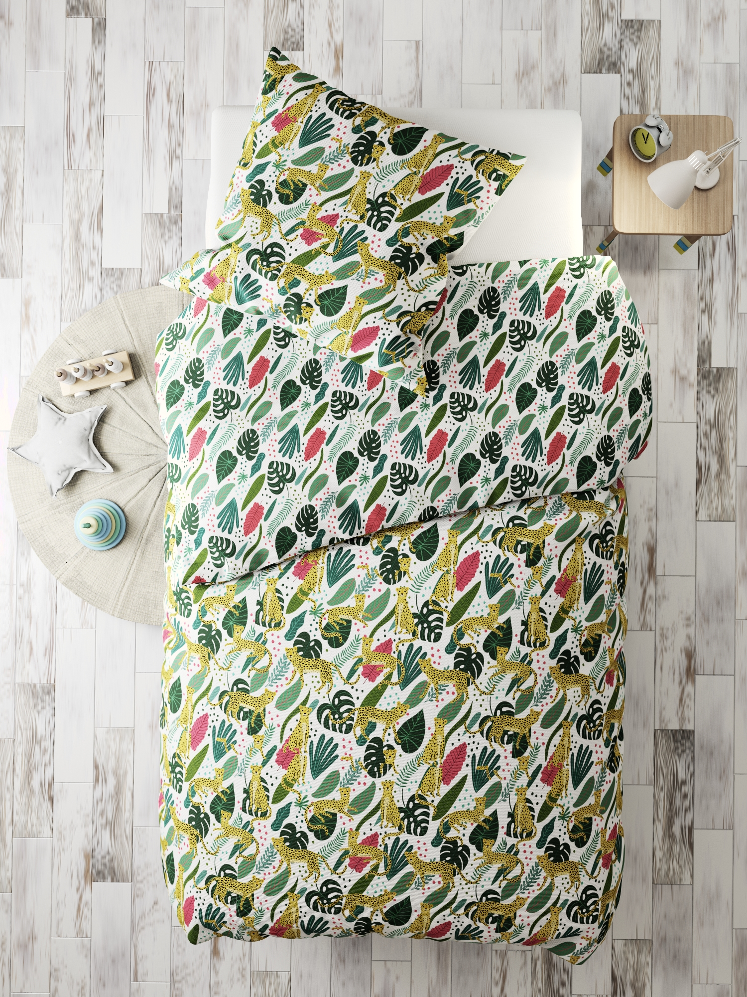 Комплект в кроватку Marengotextile Лео на прогулке, белый, зеленый