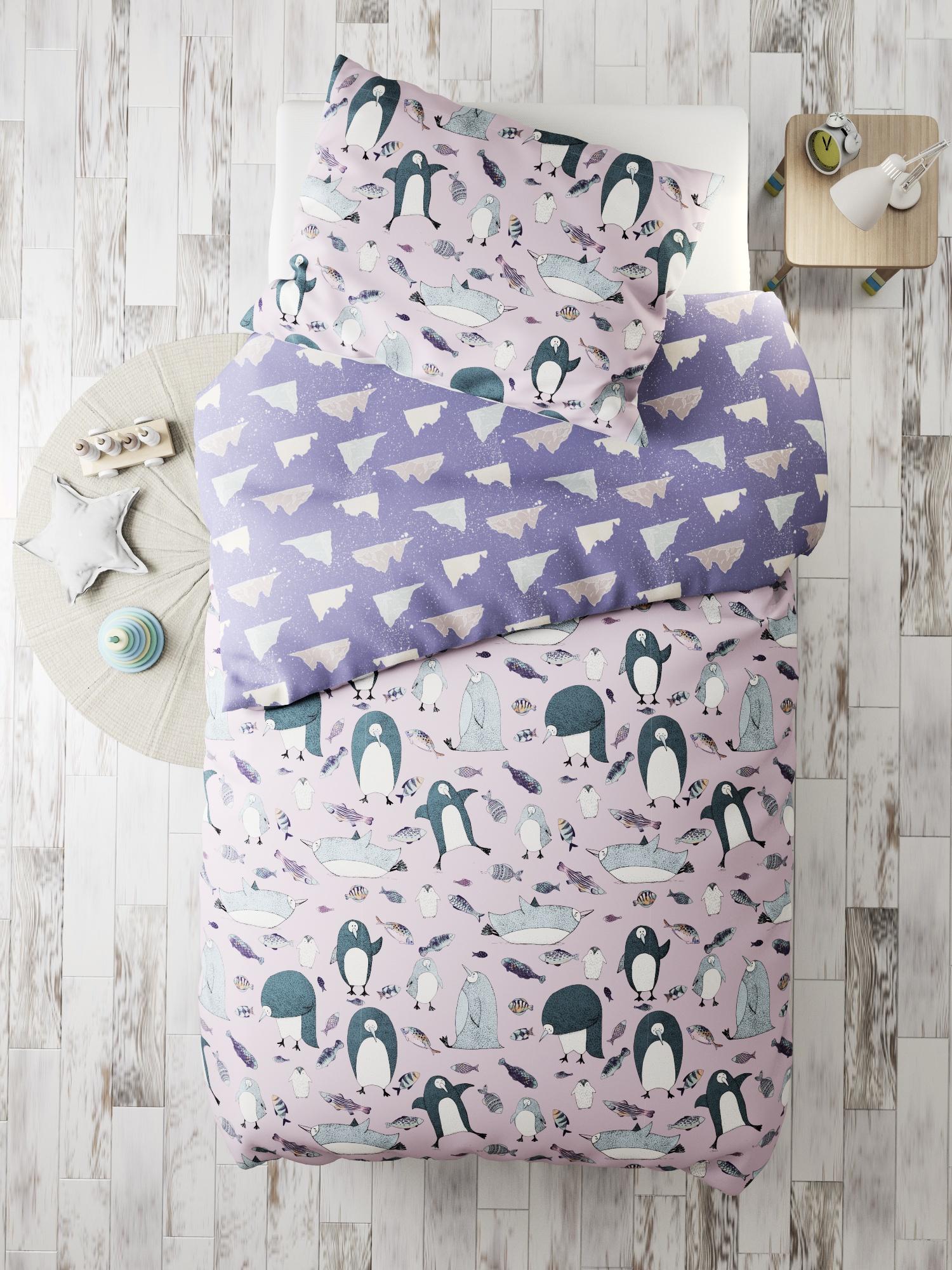 Комплект в кроватку Пингвины, розовый, фиолетовый