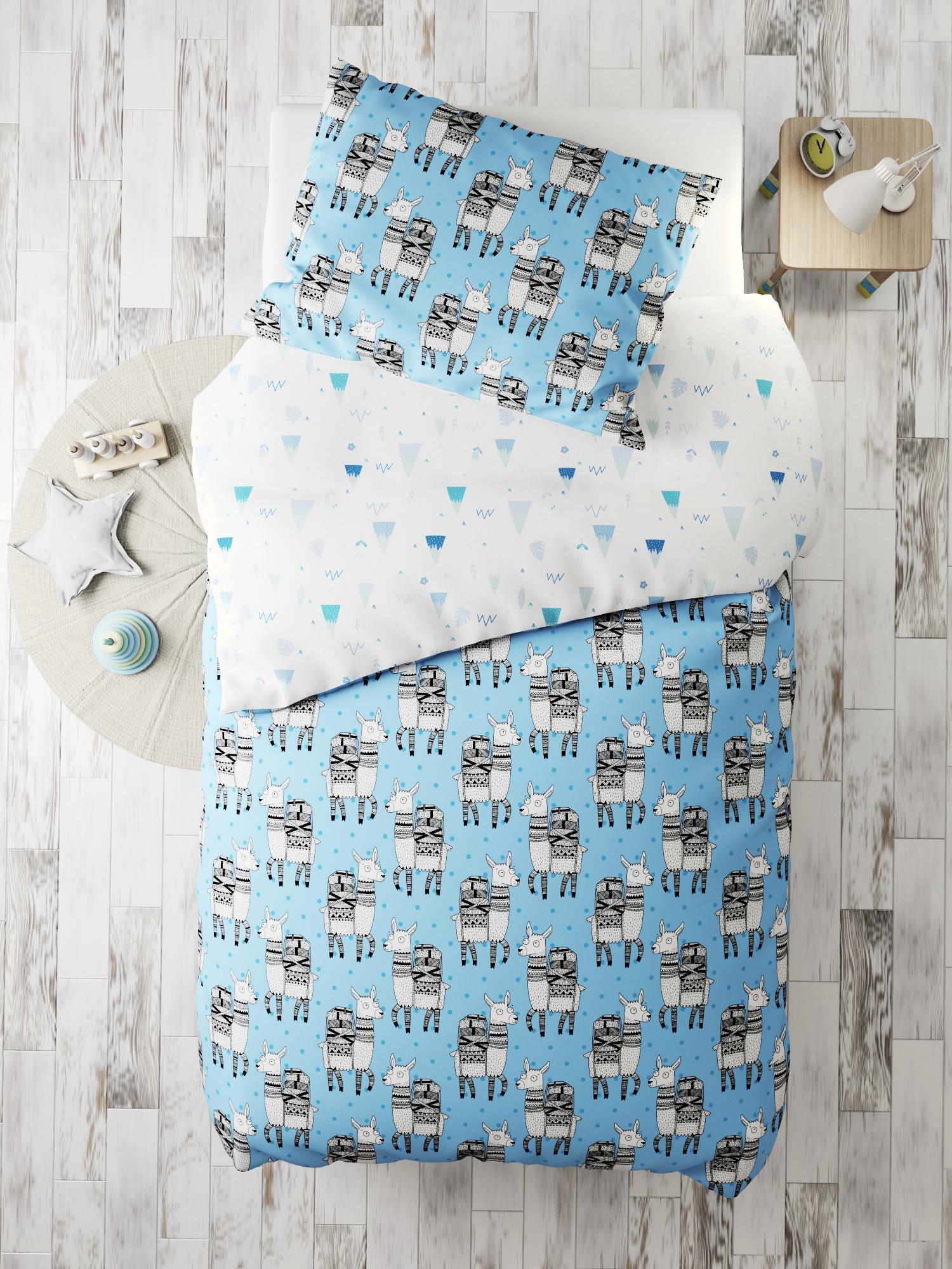 Комплект в кроватку Альпаки, голубой, белый