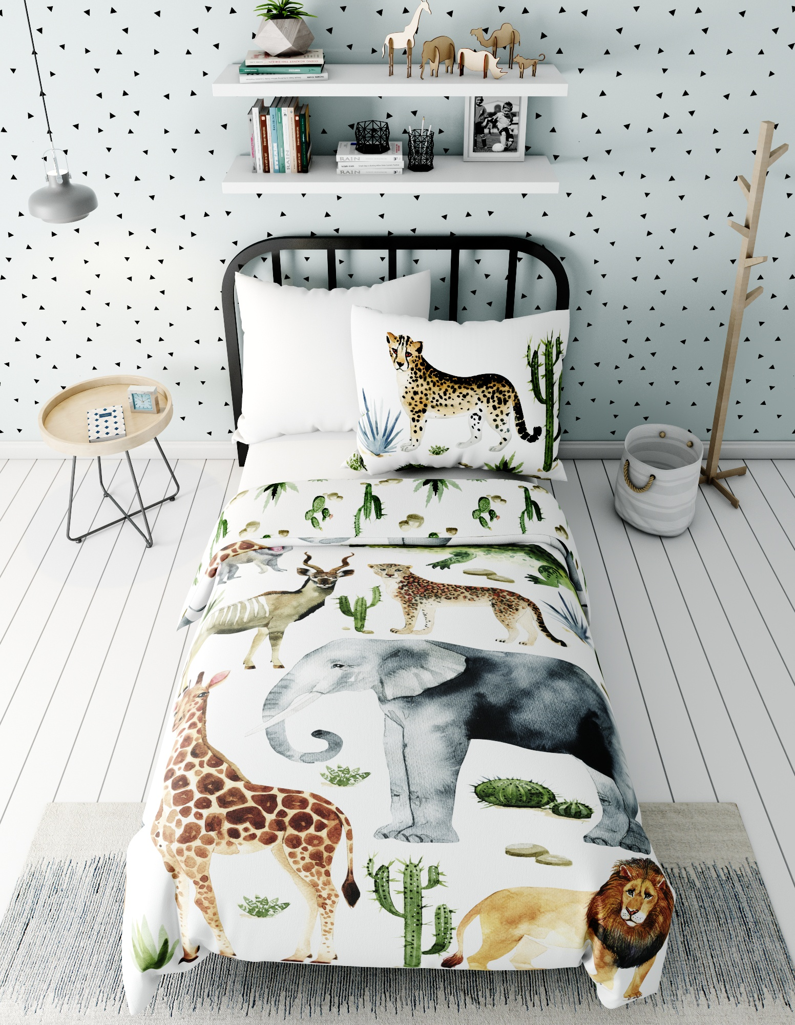 Комплект в кроватку Marengotextile Африканские звери, белый
