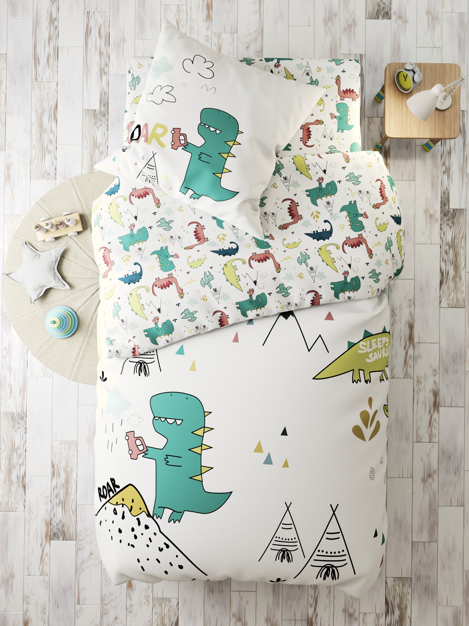 Комплект в кроватку Динозаврики, белый