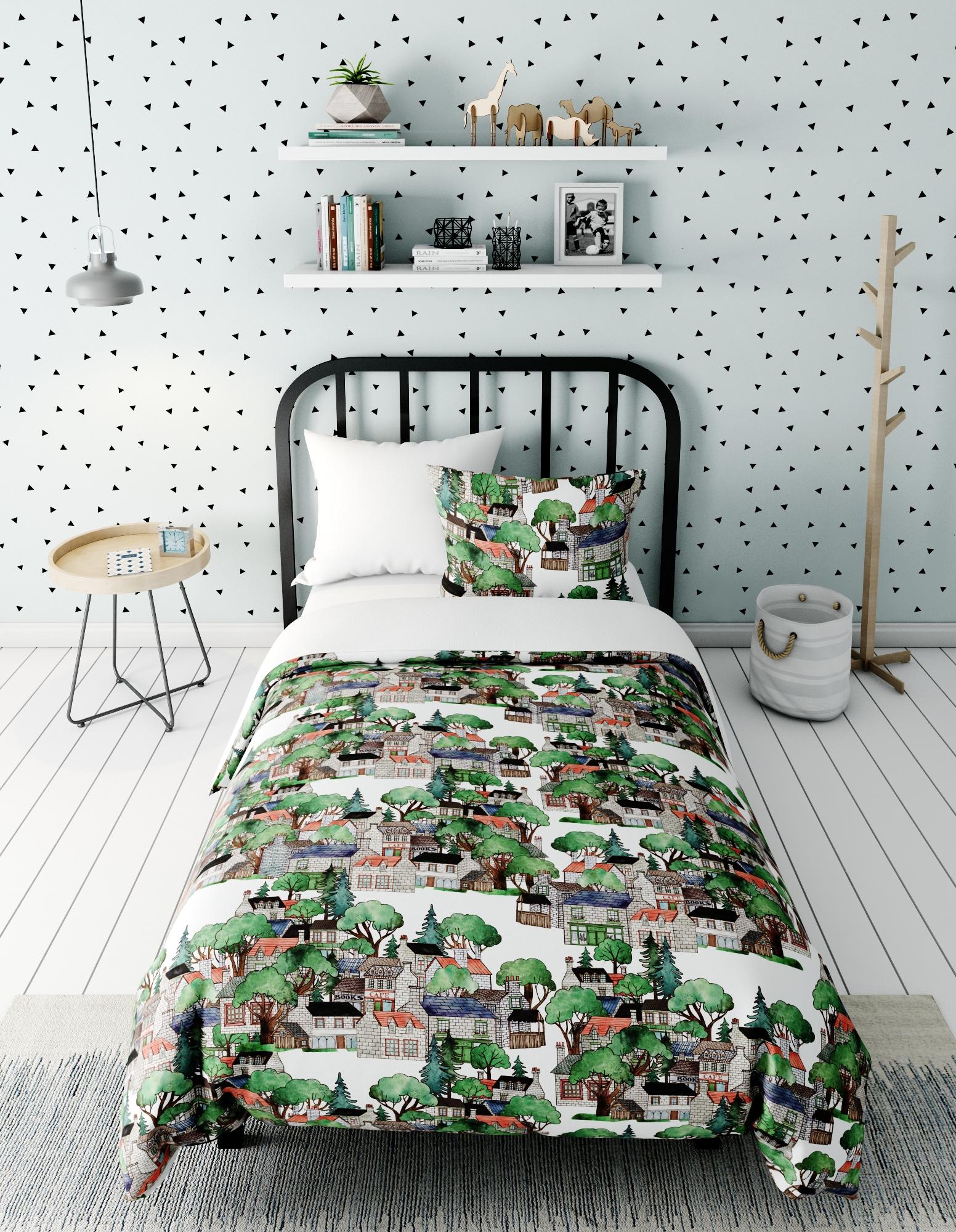 Комплект в кроватку Домики, белый
