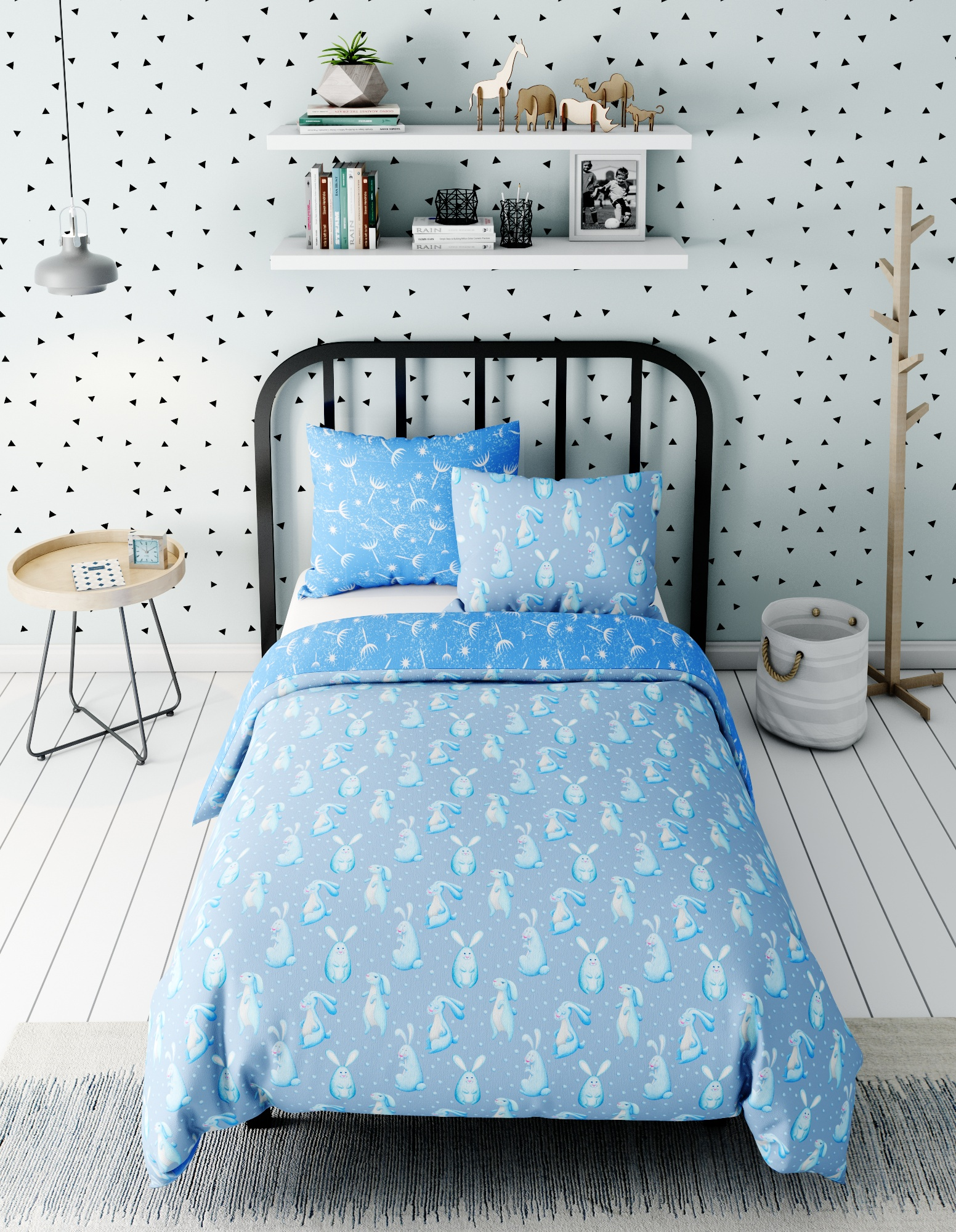 Комплект в кроватку Зайчики, голубой