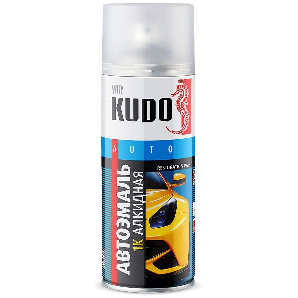 Краска автомобильная KUDO 202 Белая, алкидная, аэрозоль, 520мл краска для кожи kudo