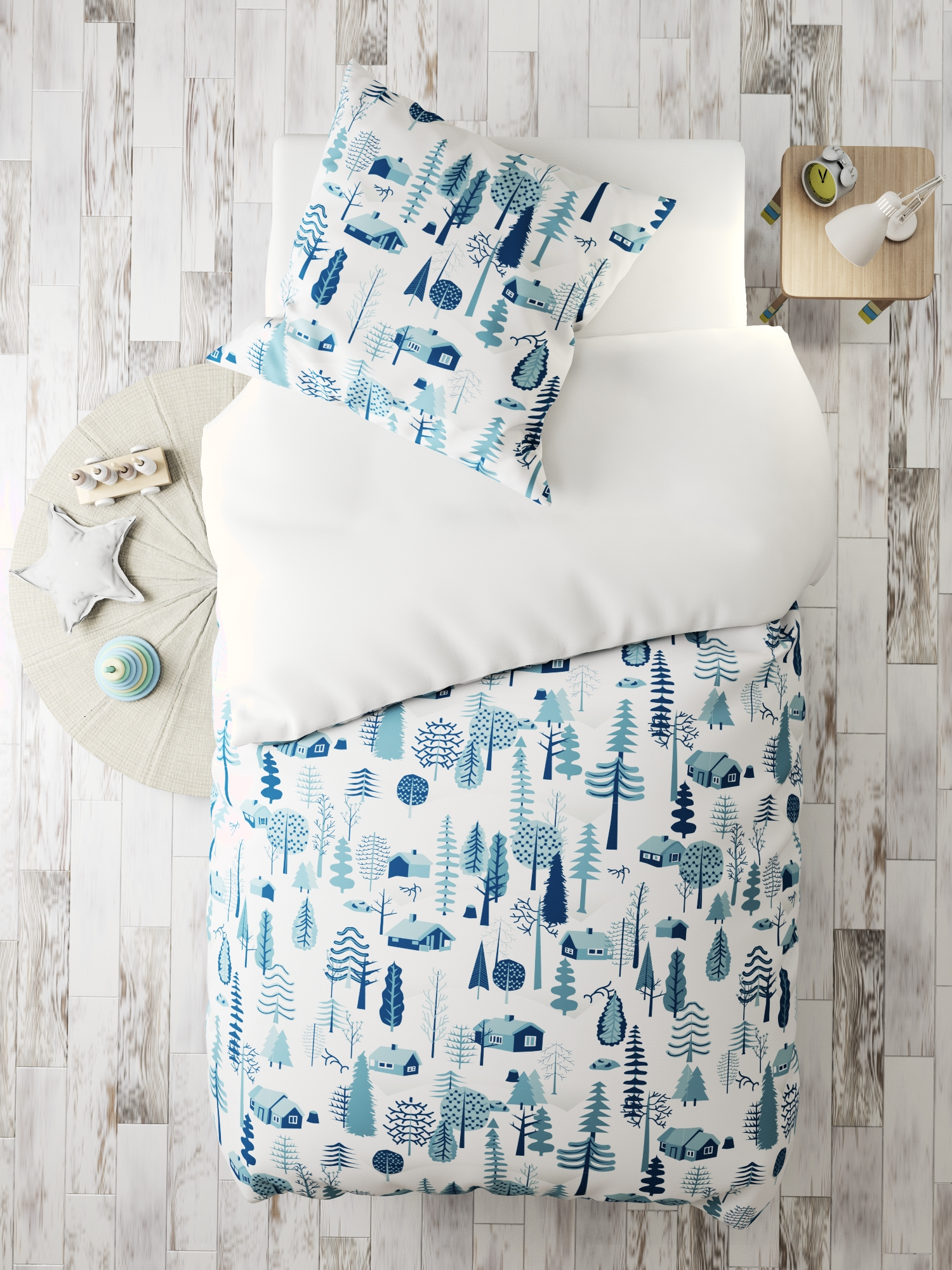 Комплект в кроватку Зимние домики, белый