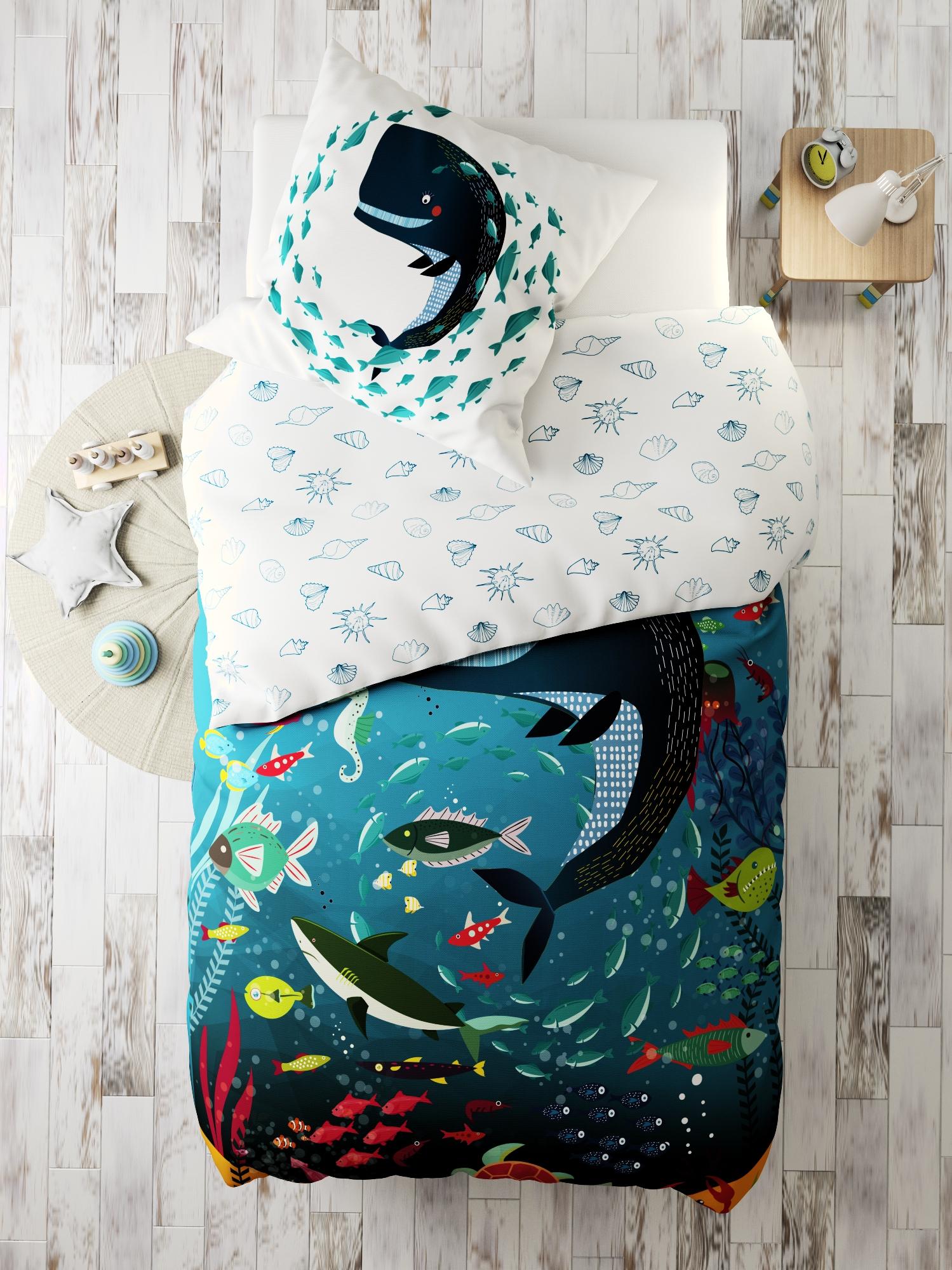 Комплект в кроватку Marengotextile Кит, голубой, белый