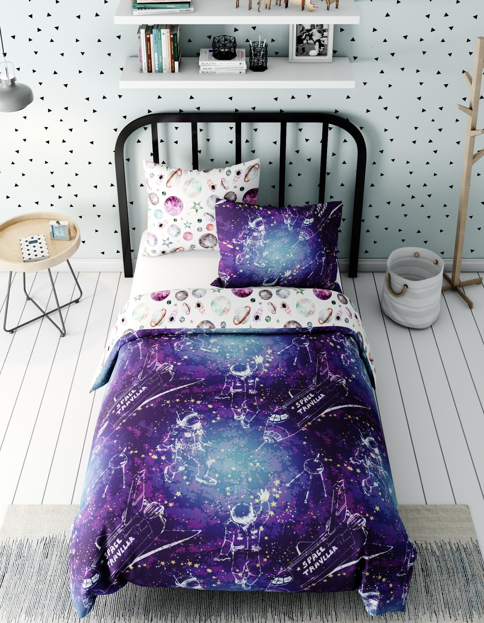 Комплект в кроватку Marengotextile Космос, фиолетовый, белый