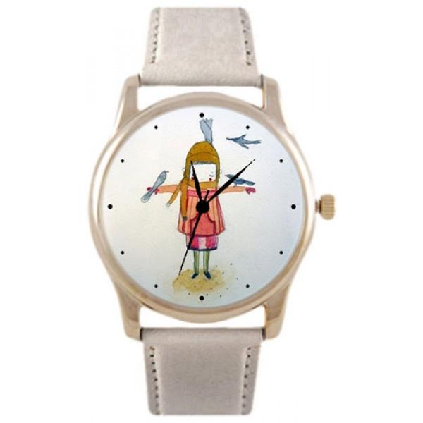 Часы Kitch Watch K-160K-160Наручные часы унисекс; Корпус: Стальной; Циферблат: Картинка; Стекло: Минеральное; Браслет: Кожаный ремешок; Водозащита: 30 м; Размер: 39х39 мм