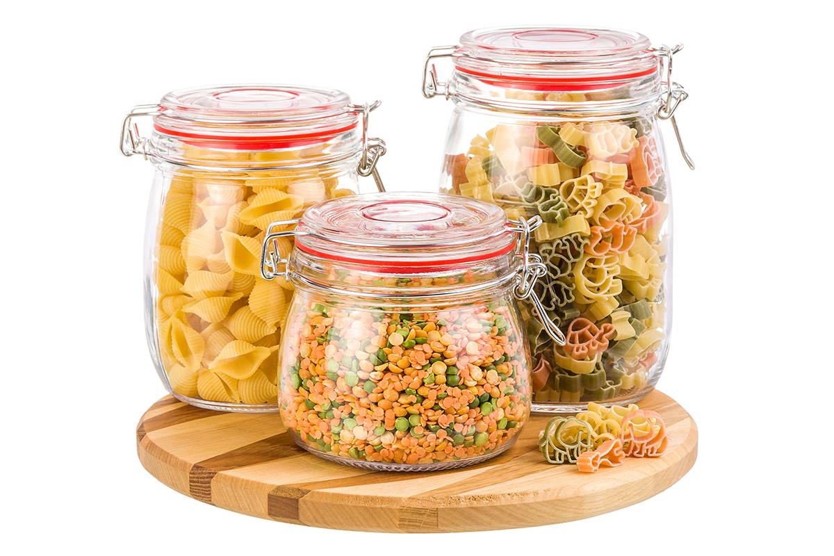Фото - Банка для сыпучих продуктов Elan Gallery Микс, красный, прозрачный набор банок для хранения elan gallery гортензия с ложками и крышками на подставке 7 предметов