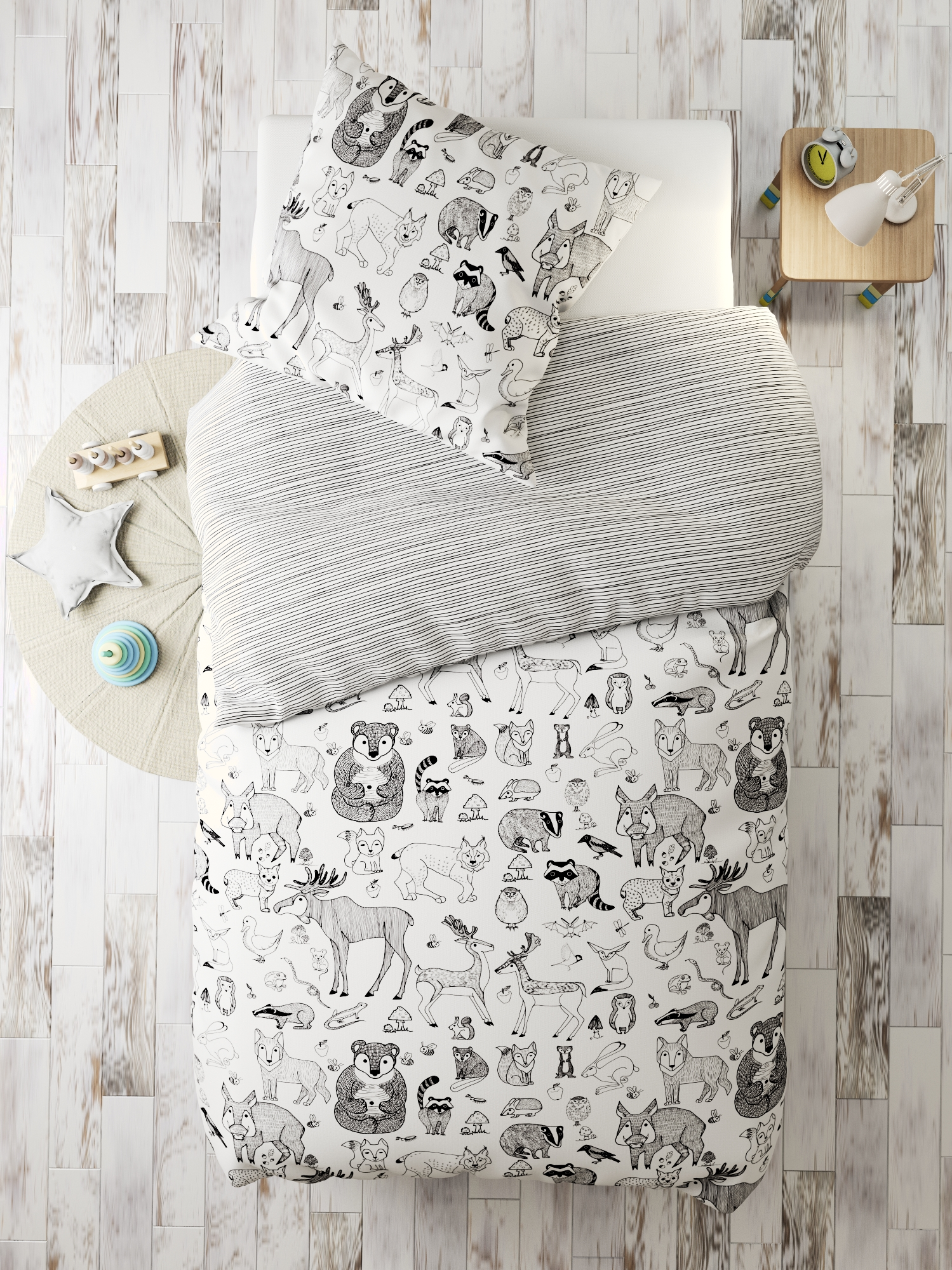 Комплект в кроватку Лесные звери, белый