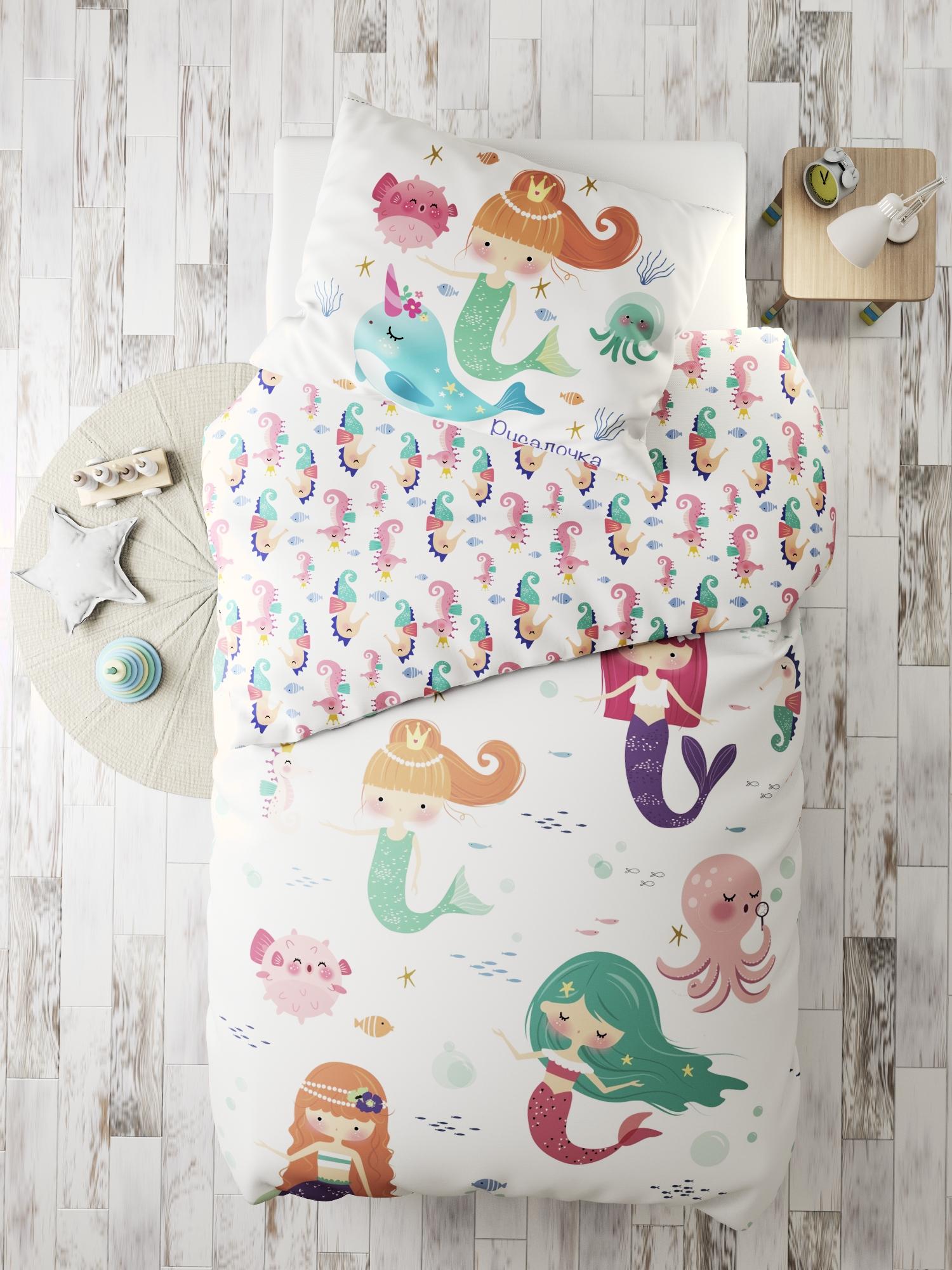 Комплект в кроватку Marengotextile Маленькая русалочка, белый