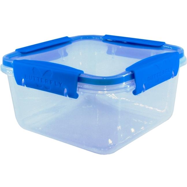 Контейнер пищевой Полимербыт герметичный для СВЧ Butterfly, 1,2л, прозрачный с голубым, 15,6х15,6х8,4 см., прозрачный контейнер полимербыт лайт цвет синий прозрачный 1 9 л