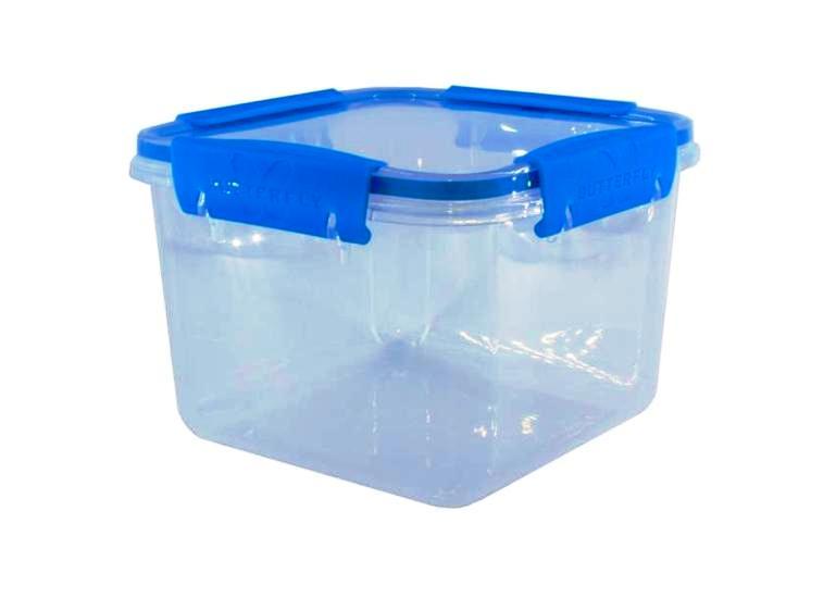 Контейнер пищевой Полимербыт герметичный для СВЧ Butterfly, 1,7л, прозрачный с голубым. 15,6х15,6х11,1 см., прозрачный контейнер полимербыт лайт цвет синий прозрачный 1 9 л