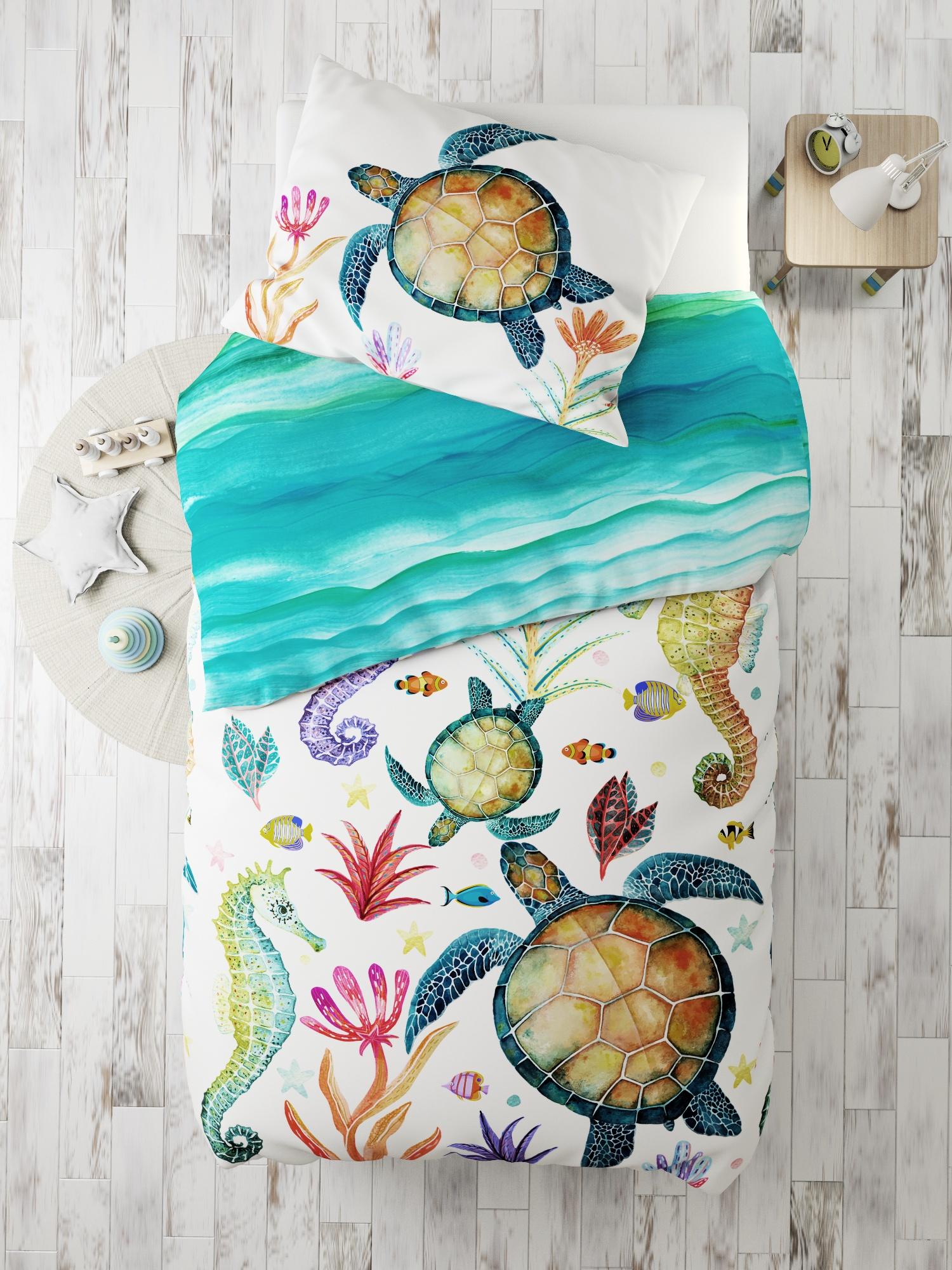 Комплект в кроватку Морские жители, белый, бирюзовый