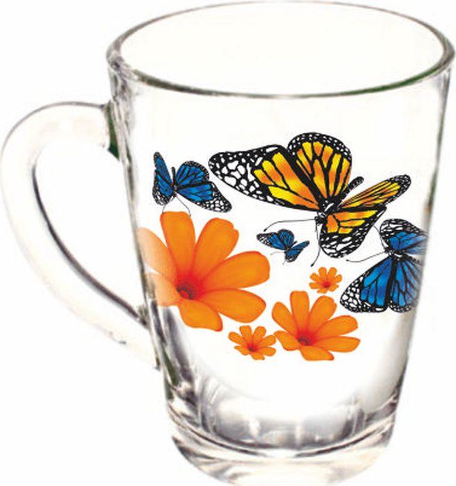 Кружка ОСЗ Капучино Бабочки и оранжевые цветы, 300 мл кружка осз капучино виноград к 300 мл