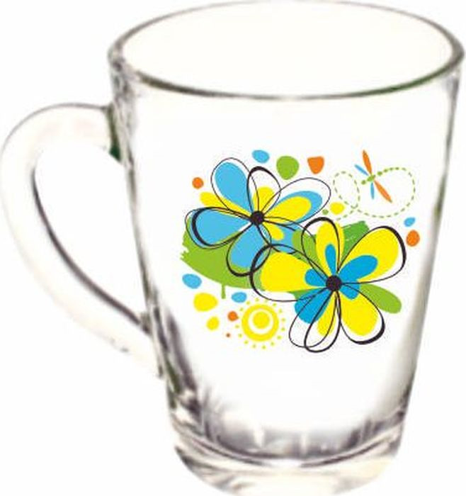 Кружка ОСЗ Капучино Радужные цветы, OCZ1334/1RDFOW/L, 300 мл кружка осз чайная радужные цветы 300 мл