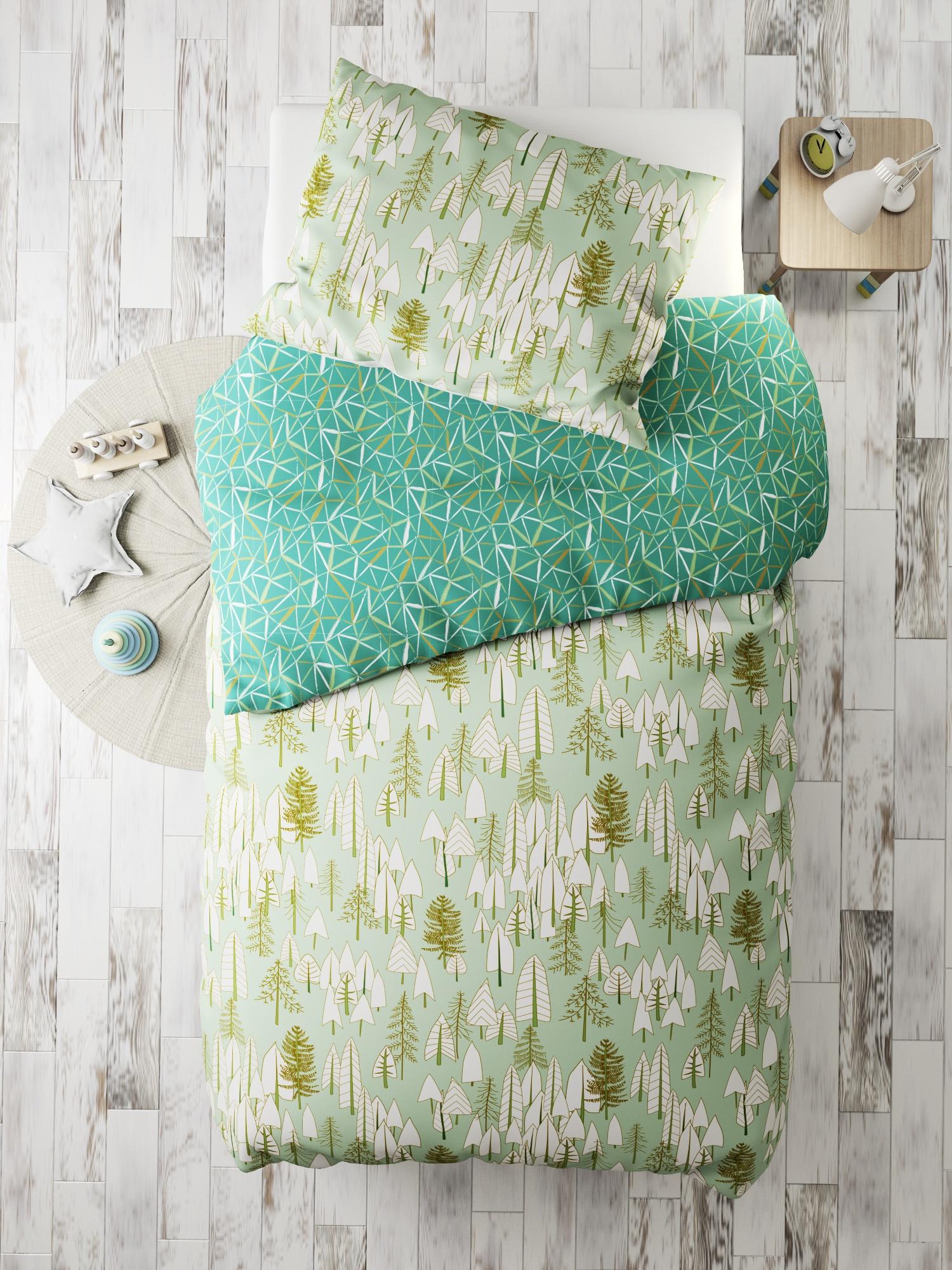 Комплект в кроватку Тайга, зеленый
