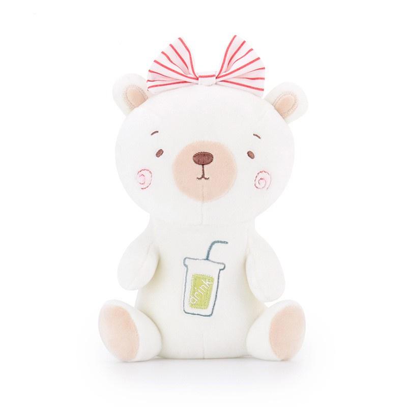 Мягкая игрушка MeToo Медвежонок с бантом, цвет: белый