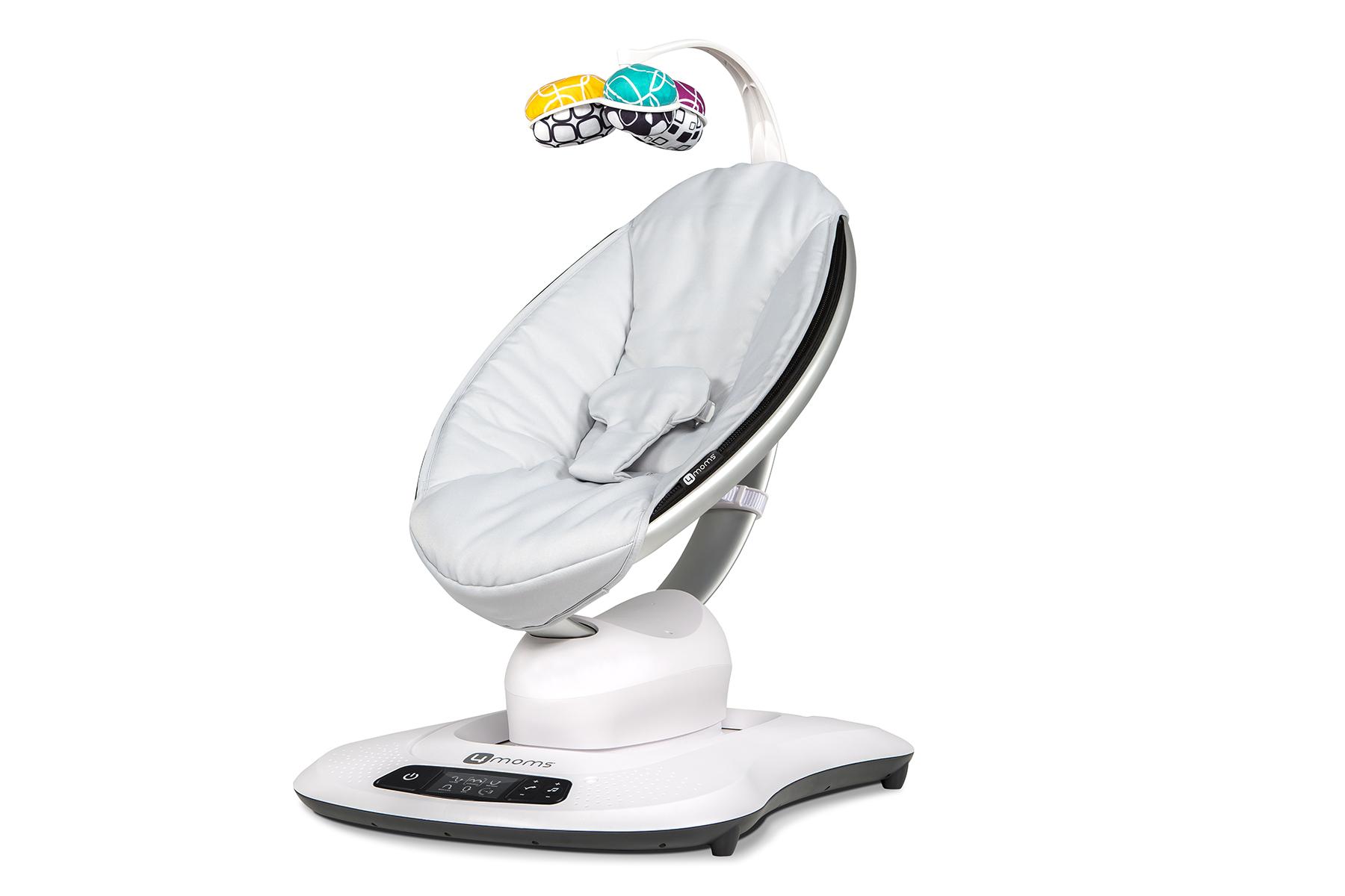 Качели для новорожденных 4moms MamaRoo 4.0 - серебристая электронный шезлонг качалка 4moms mamaroo 4 мульти плюш