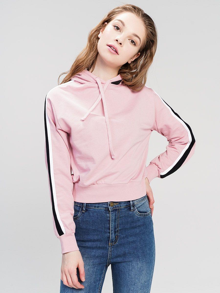 Худи женское ТВОЕ, цвет: розовый. 59967. Размер M (46)59967Женская толстовка худи изготовлена из 100% хлопка. Отлично подойдет для создания повседневного и спортивного образа.