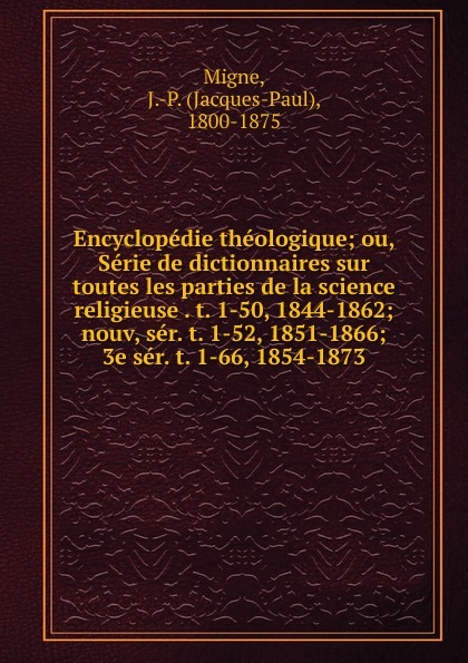 Encyclopedie theologique