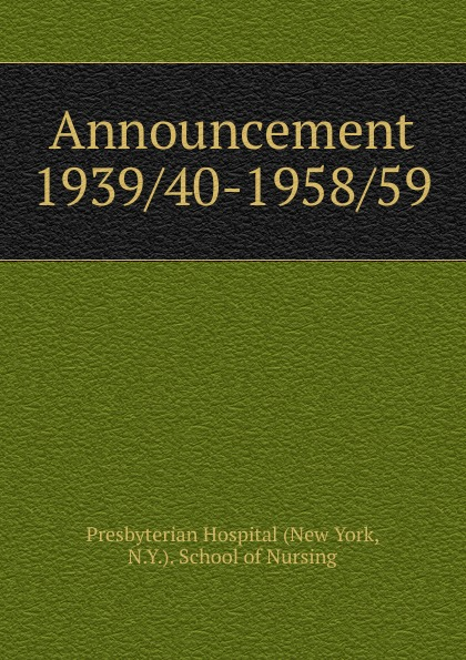 Announcement 1939/40-1958/59