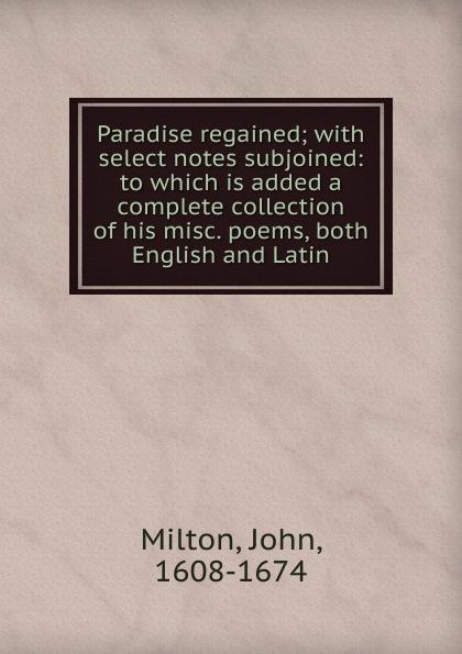 Milton John Paradise regained